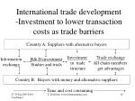 international trade development investment to lower transaction costs as trade barriers