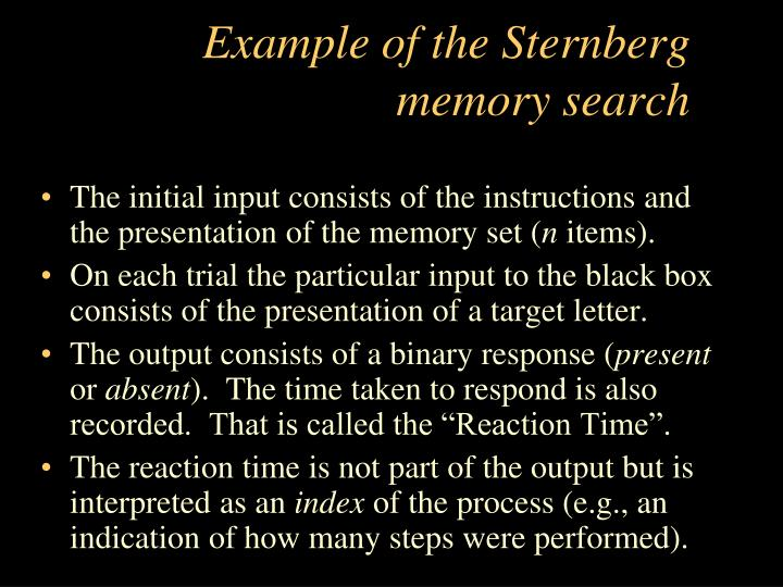 Example of the Sternberg memory search