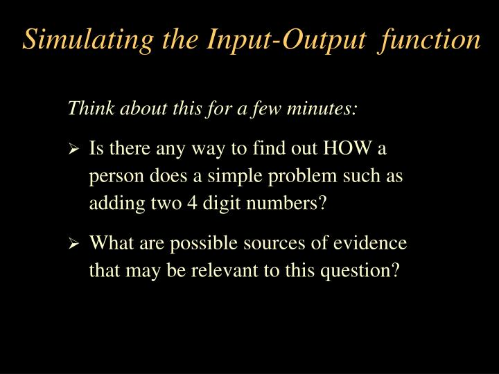 Simulating the Input-Output  function