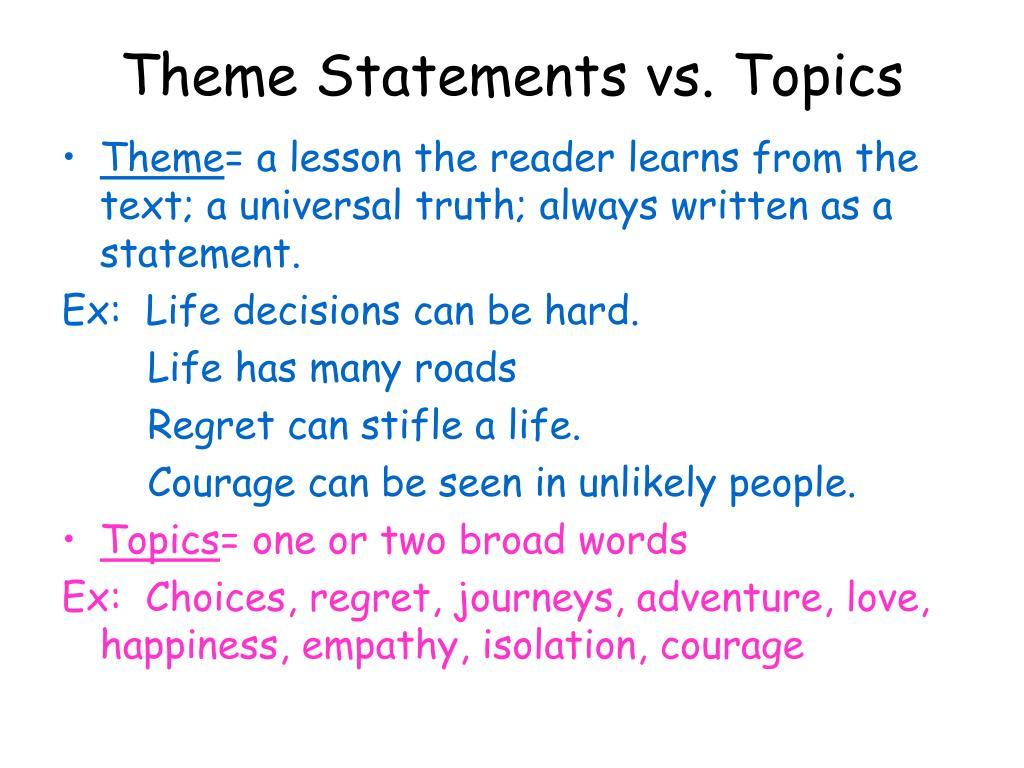 list of thematic statements