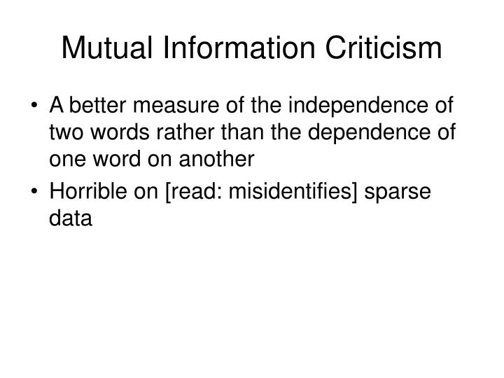 Mutual Information Criticism