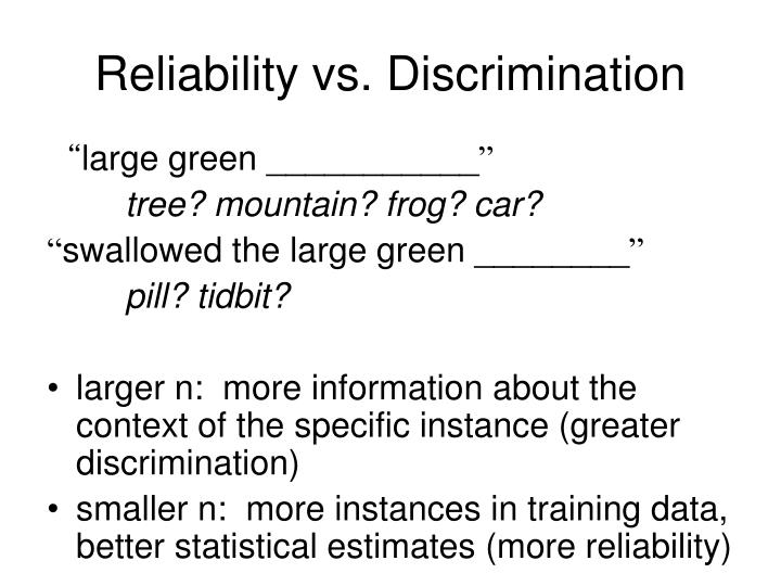 Reliability vs. Discrimination