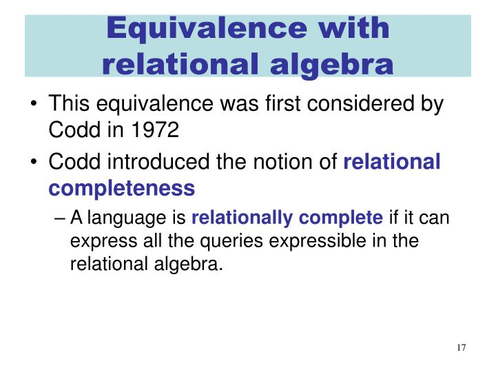Equivalence with relational algebra