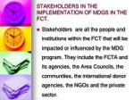 stakeholders in the implementation of mdgs in the fct
