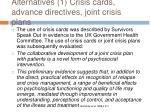 alternatives 1 crisis cards advance directives joint crisis plans