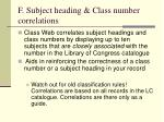 f subject heading class number correlations