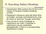 g searching subject headings