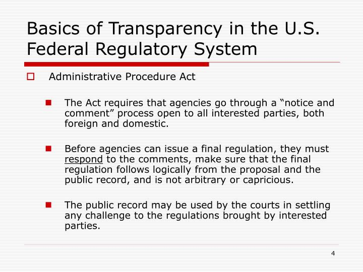 Basics of Transparency in the U.S. Federal Regulatory System