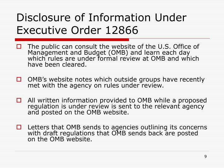 Disclosure of Information Under Executive Order 12866