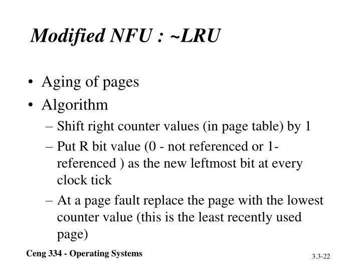 Modified NFU : ~LRU
