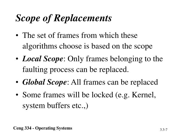 Scope of Replacements