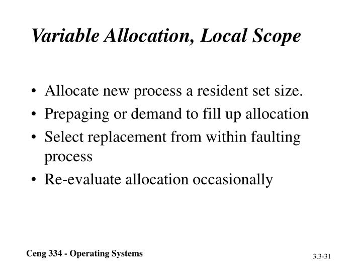 Variable Allocation, Local Scope