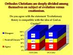orthodox christians are deeply divided among themselves on subject of evolution versus creationism