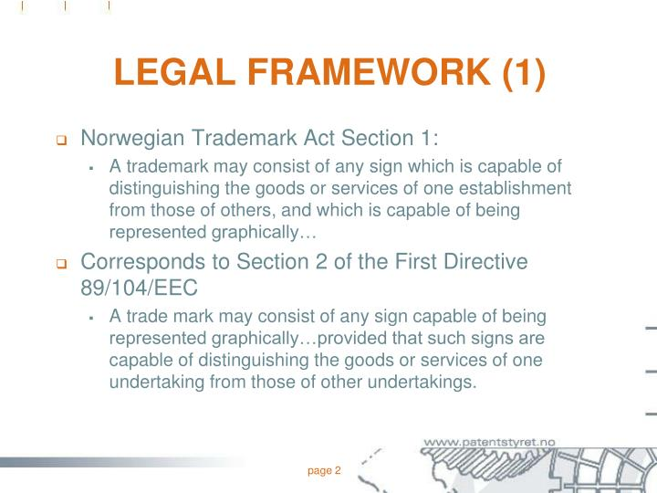 Legal framework 1