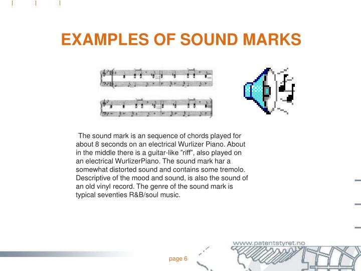 EXAMPLES OF SOUND MARKS