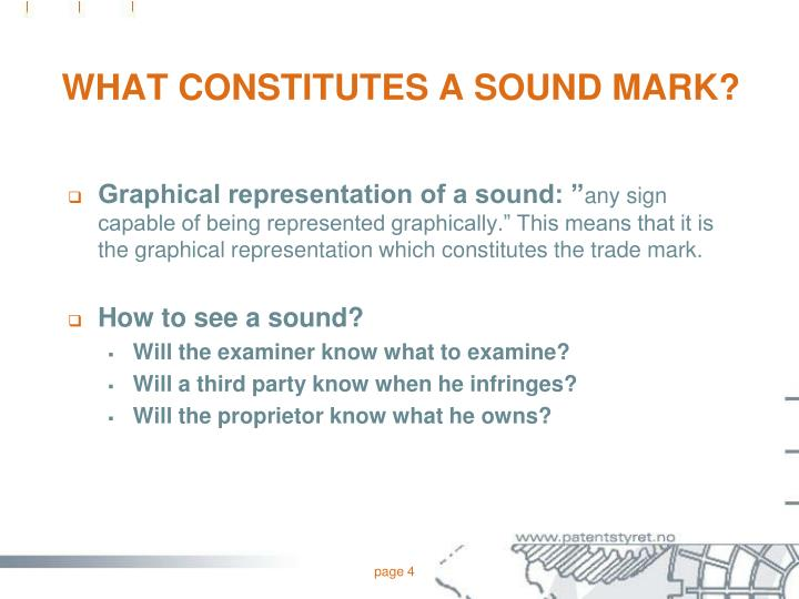 WHAT CONSTITUTES A SOUND MARK?