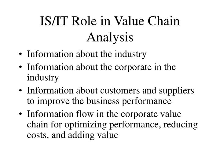 IS/IT Role in Value Chain Analysis