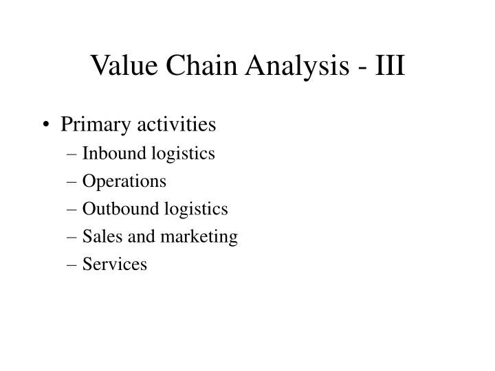 Value Chain Analysis - III