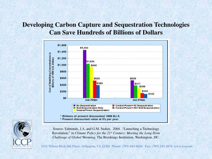 Developing Carbon Capture and Sequestration Technologies Can Save Hundreds of Billions of Dollars