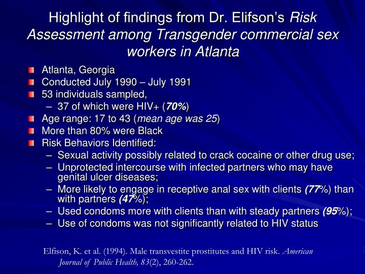 Highlight of findings from Dr. Elifson's