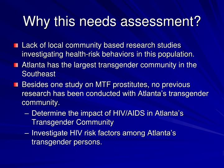 Why this needs assessment