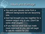 values and marriage