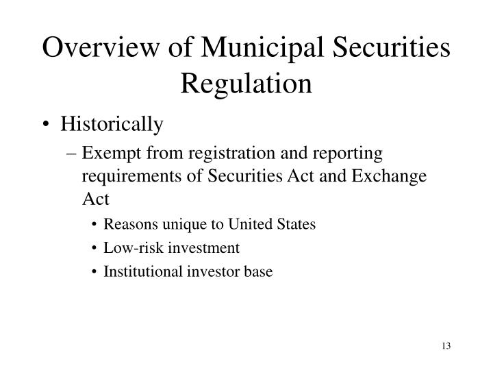 Overview of Municipal Securities Regulation