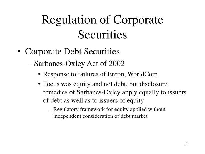 Regulation of Corporate Securities