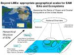 beyond lmes appropriate geographical scales for eam ieas and ecosystems
