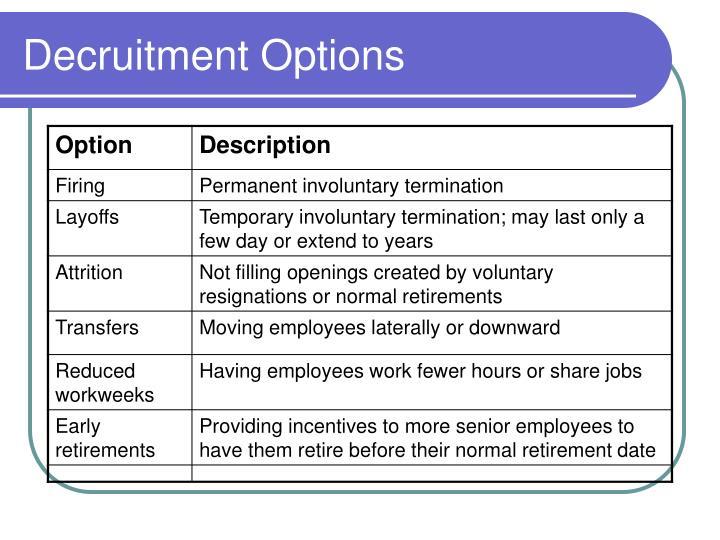 Decruitment Options