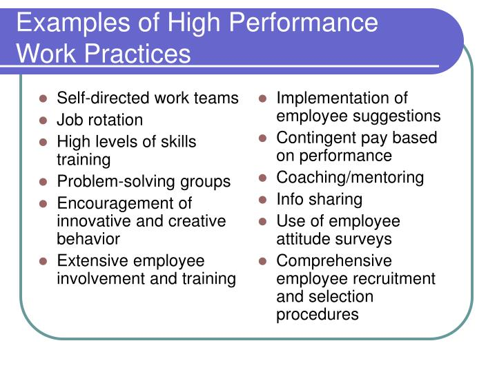 Examples of high performance work practices