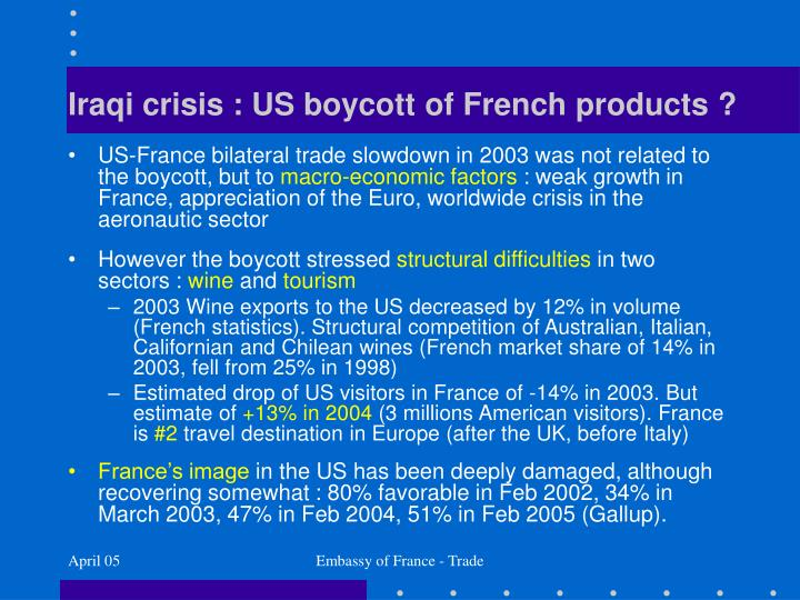 Iraqi crisis : US boycott of French products ?