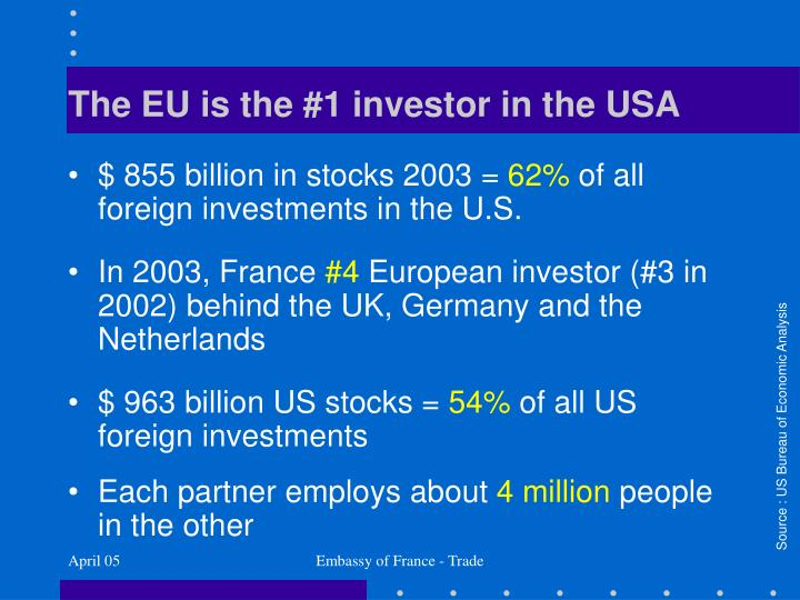 The EU is the #1 investor in the USA