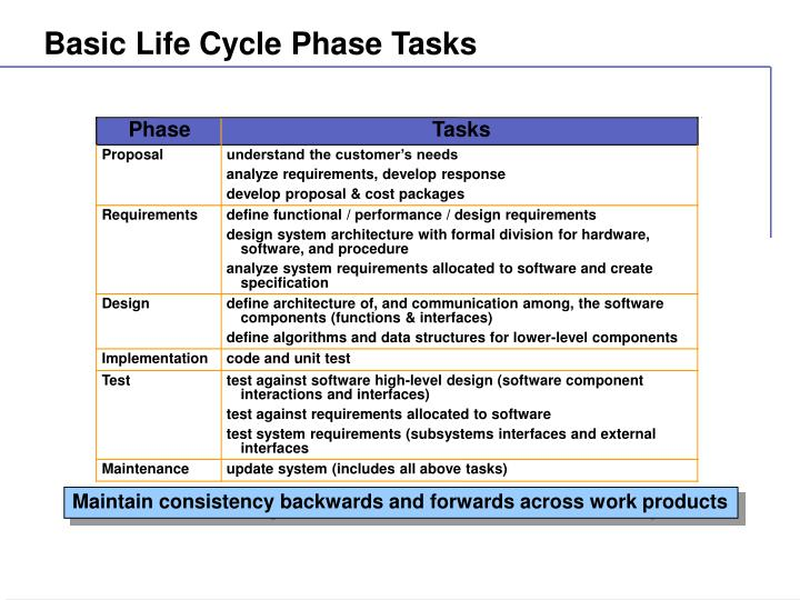 Basic Life Cycle Phase Tasks