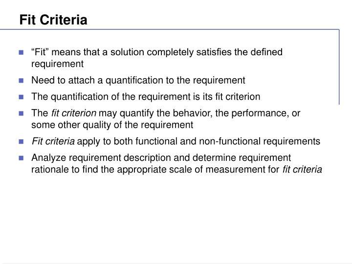 Fit Criteria