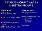 establish church area ministry groups