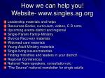 how we can help you website www singles ag org