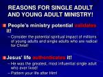 reasons for single adult and young adult ministry