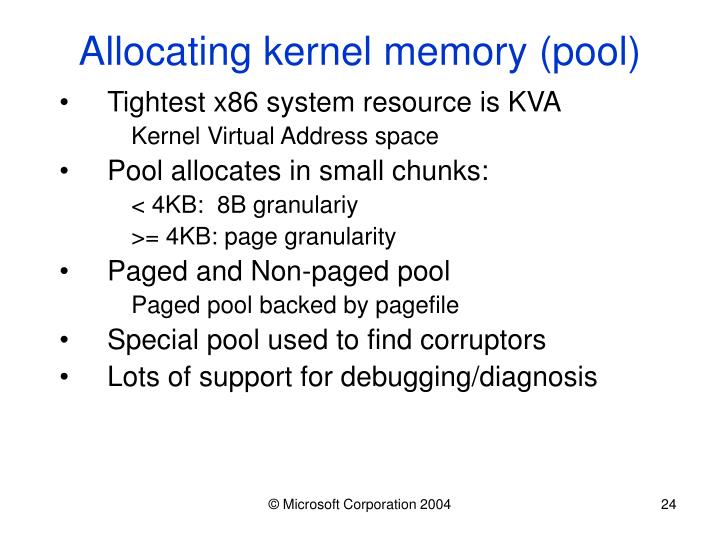 Allocating kernel memory (pool)