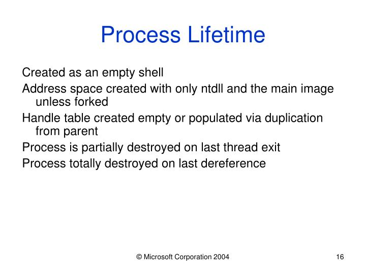Process Lifetime