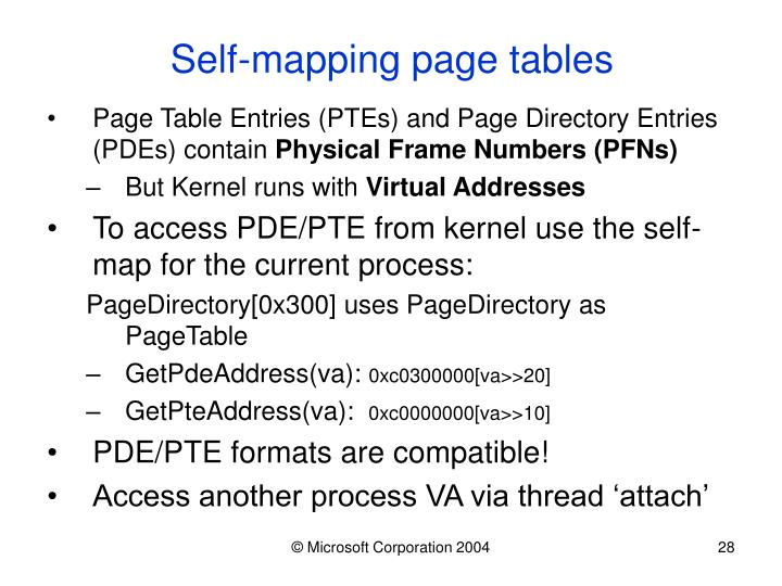Self-mapping page tables