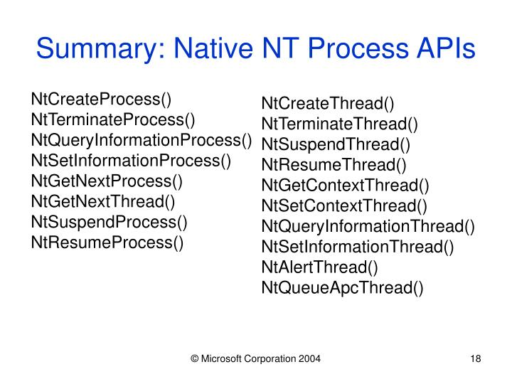 Summary: Native NT Process APIs