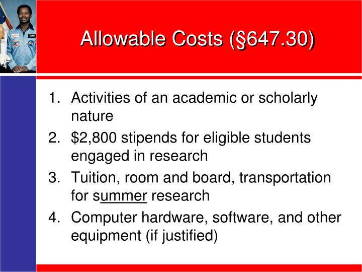 Allowable Costs (§647.30)