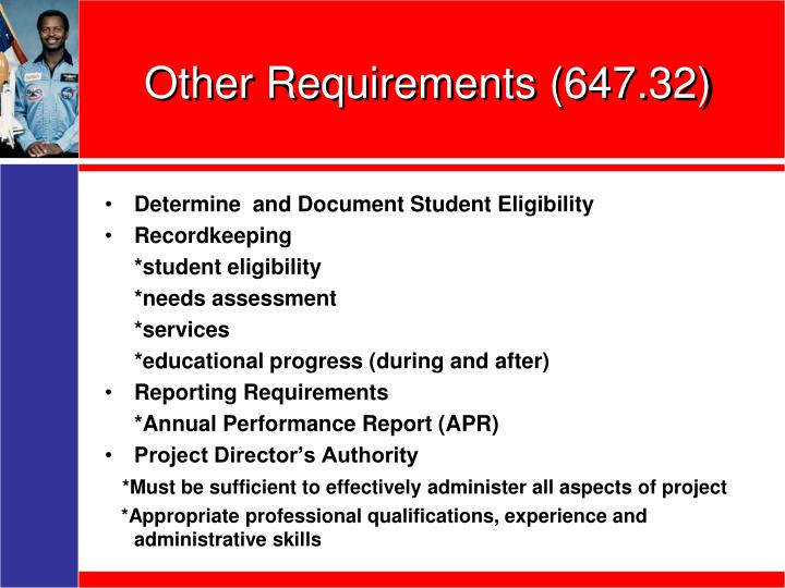 Other Requirements (647.32)
