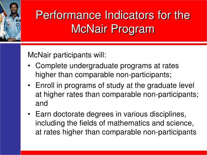Performance Indicators for the McNair Program