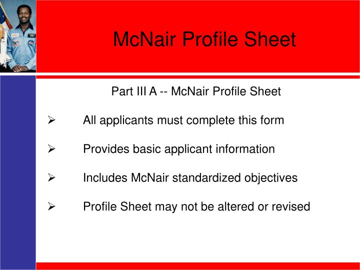 McNair Profile Sheet