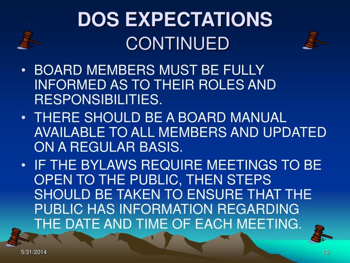 DOS EXPECTATIONS