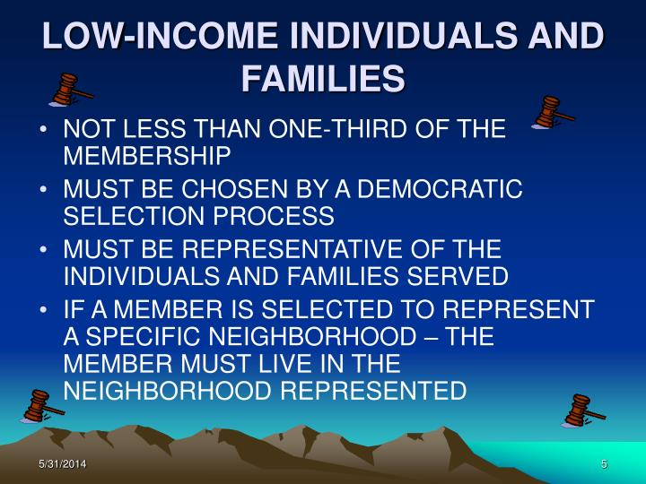 LOW-INCOME INDIVIDUALS AND FAMILIES