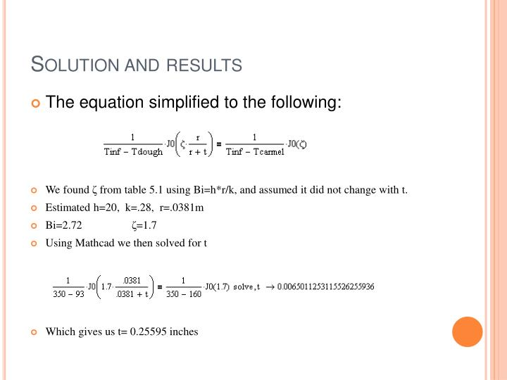 Solution and results