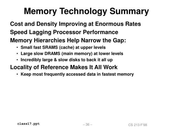 Memory Technology Summary
